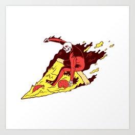 Pizza Surfer Art Print