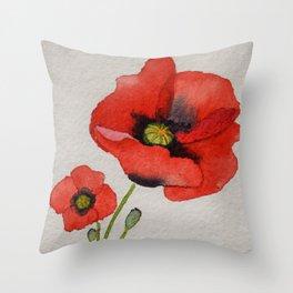 Watercolour Poppies Throw Pillow