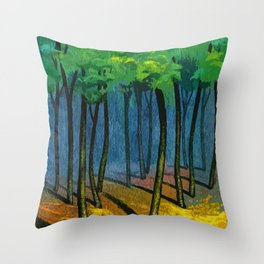 Sunset light in the forest Throw Pillow