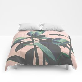 Pink Tropical Leaves Comforters