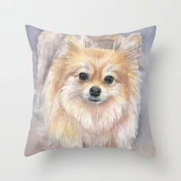 Pomeranian Watercolor Pom Puppy Dog Painting Throw Pillow