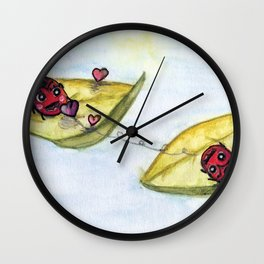 Ladybug Lovers - Watercolor Wall Clock