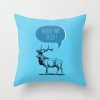 pun Throw Pillows featuring Deer Pun by Zeke Tucker