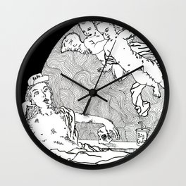 Reclining Figure with Cherubs 1 Wall Clock