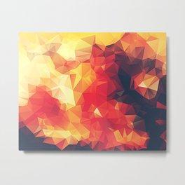 Crimson Fire Polygon Art Metal Print