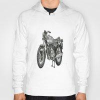 motorbike Hoodies featuring Stippled Motorbike  by Rachael Kotvojs
