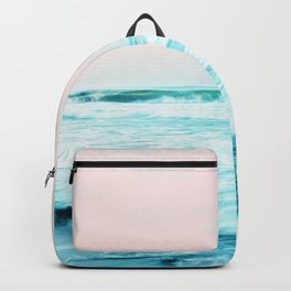 Sun. Sand. Sea, Tropical Nature Ocean, Landscape Travel Photography, Summer Pastel Blush Graphic Backpack