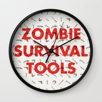 Zombie Survival Tools - Pattern 'o tools Wall Clock