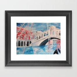 Enlighted Rialto bridge in Venice Framed Art Print