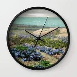 Bluebonnet flowers & San Francisco Sand Dunes nautical seaside landscape painting by Theodore Wores Wall Clock