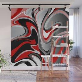Liquify - Red, Gray, Black, White Wall Mural