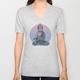 Buddha with dog1 Unisex V-Neck