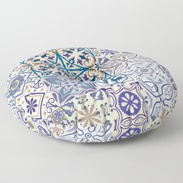 Big set of tiles in portuguese, spanish, italian style. Vintage abstract floral illustration patttern. Floor Pillow