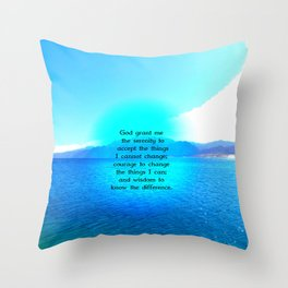 Serenity Prayer With Blue Ocean and Amazing Sky Throw Pillow