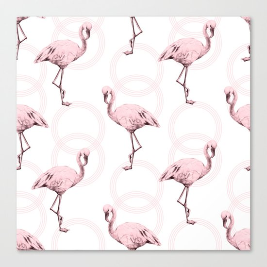 Mod Flamingos on Flamingo Pink Infinity Link Canvas Print