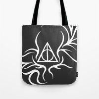 deathly hallows Tote Bags featuring Deathly Hallows - inverted by Ria-Ra