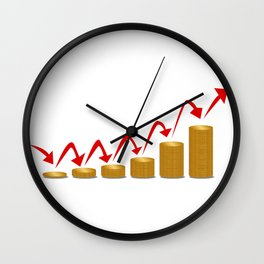 Rising Money Steps Wall Clock