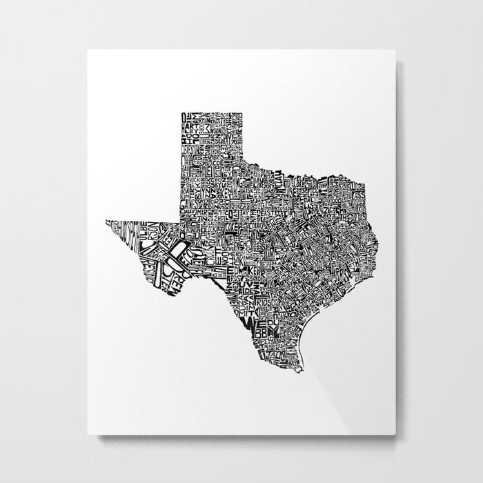 Typographic Texas Metal Print