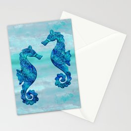 Blue Seahorse Couple Underwater Stationery Cards