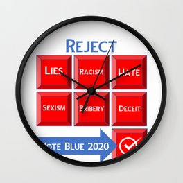 Reject the Republican Party Vote Blue 2020 Wall Clock