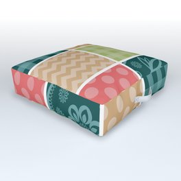Zigzag, Polka Dots, Gingham - Green Red Blue Outdoor Floor Cushion