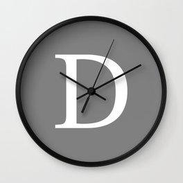 Darker Gray Basic Monogram D Wall Clock