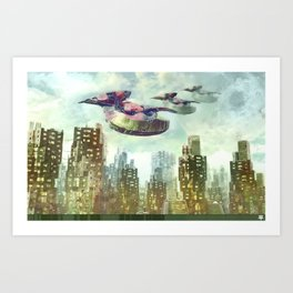 Downtown Spaceships Art Print