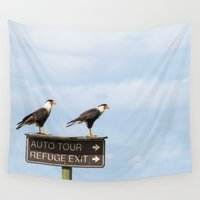 cara Wall Tapestries featuring Crested Cara Cara Hawks by Wild&WanderfulArt