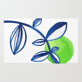 Blue and lime green minimalist leaves Rug