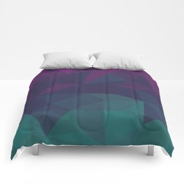 Abstract Geometric Gradient Pattern between dark Magenta and dark Cyan Comforters