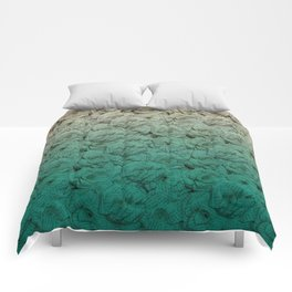 Teal Ombre Book Flower Roses Comforters