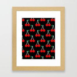 Cheri - valentines day love pattern print black and red romantic iphone6 case custom red cherries Framed Art Print