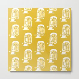 Tuba Pattern Mustard Yellow Metal Print