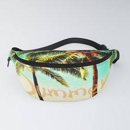 Green Yellow Vintage Palm Tree with Hawaii Summer Sea Beach Fanny Pack