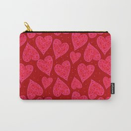 Valentine Hearts Dark Red Background Carry-All Pouch