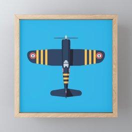 F4U Corsair WWII Fighter Aircraft - French Framed Mini Art Print