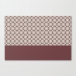 Pantone Cannoli Cream Square Petal Pattern on Pantone Red Pear Canvas Print