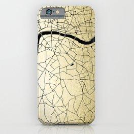 London Gold on Black Street Map iPhone Case