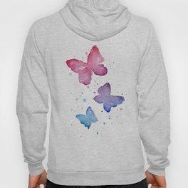 Butterflies Watercolor Abstract Splatters Hoody