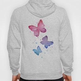 Butterflies Watercolor Abstract Splatters Hoody