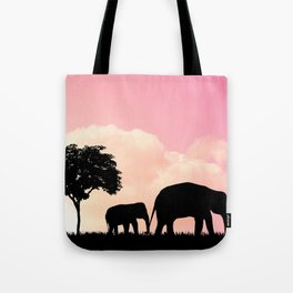 Nature background with elephants and giraffe Tote Bag