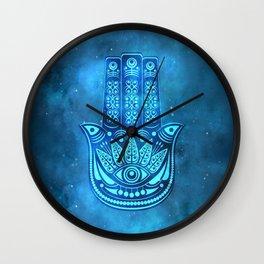 Hamsa Hand Magic Eye Blue Watercolor Art Wall Clock