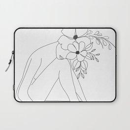 Minimal Line Art Nude Woman with Flowers Laptop Sleeve