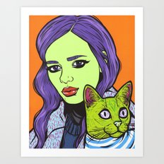 girl with cat Art Print