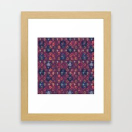 Lotus flower - orange and blue on mulberry woodblock print style pattern Framed Art Print