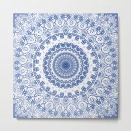 Blue and White Fractal Mandala Metal Print