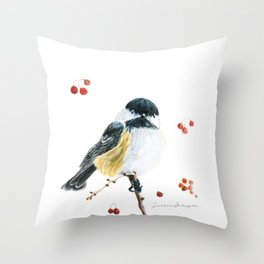 Christmas Chickadee by Teresa Thompson Throw Pillow