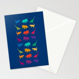 Dino Parade in Navy Blue Stationery Cards