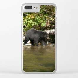 The Salmon Whisperer - A Hunting Black Bear Clear iPhone Case