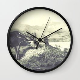 Vintage Deer Illustration 02 Wall Clock